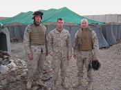 One of the soldiers receiving packages from the RWCC is Ben Stangl (left), shown with two of his fellow soldiers in Iraq.